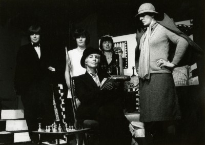 The Farndale Avenue Housing Estate Townswomen's Guild Dramatic Society's Murder Mystery, McGillivray and Zerlin, 3-8 June 1985 Kate Fawcett as Felicity, Sue Kelly as Thelma, Arlene Duffy as Sylvia, Clare Tapsfield as Mrs Reece, Jacki Reed as Audrey