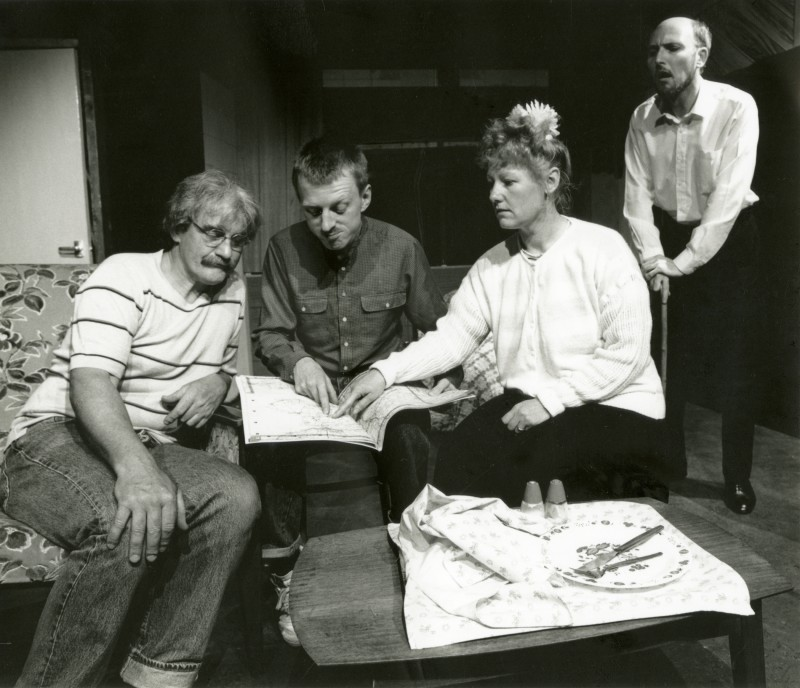 A Month of Sundays, by Bob Larbey, directed by Jacki Reed, 14-19 May, 1990 (the last production in the garage theatre), press photo. Ron Suthers, Vaughan Leslie, Sue Todd and Mike Peel.