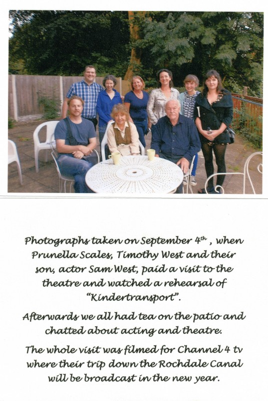 Sam West, Timothy West, Prunella Scales, and the cast of Kindertransport, September 2013, at the Little Theatre
