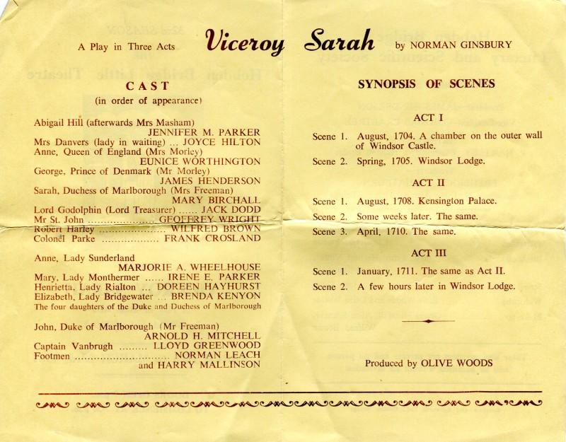 Viceroy Sarah, 1957 programme