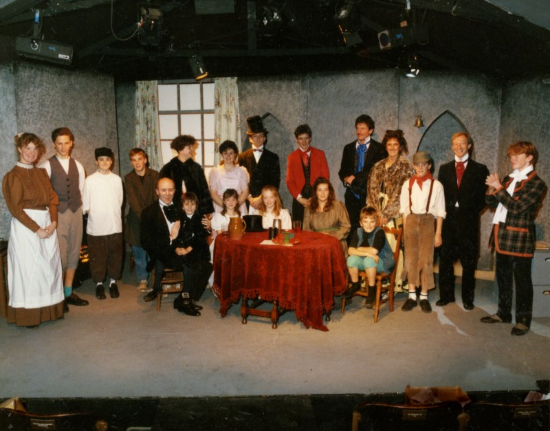 Cast of A Christmas Carol, by Charles Dickens, adapted by Shaun Sutton, 4-9 December 1989 Including Jenny Gore as Christmas Past, Edward Lack as Fred, Mike Peel as Scrooge, Sophie Reed as Tiny Tim, Kate Webster as Dora, Nicola Strong as Fanny, Gemma Hollings as Martha, Stuart Hought as Christmas Past, Jacki Reed as Mrs Fezziwig, Anthony Crabtree as Mr Fezziwig, Adam Robinson as Young Scrooge