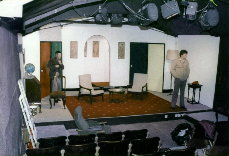 Rehearsal for Boeing-Boeing by Marc Camoletti, the first production in the new theatre, performed 7-14 May 1983 Keith Briggs as Bernard, Paul Hargreaves as Robert