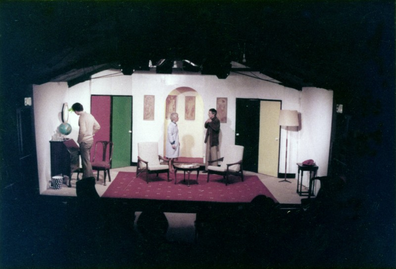 Rehearsal for Boeing-Boeing by Marc Camoletti, the first production in the garage theatre