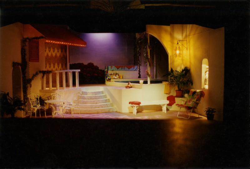 Set for Man of the Moment, by Alan Ayckbourn, 24 February-1 March 1997, directed by Ray Riches. Set built by Jim Crossley.