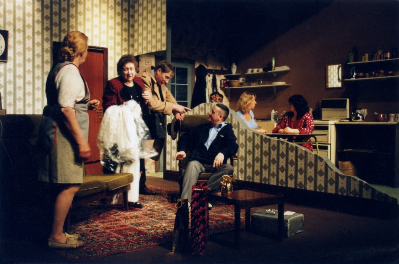 Sylvia's Wedding, by Jimmie Chinn, directed by Andrew Hamlin, 18-23 February 2002. Marian Feather as Joyce, Wendy Mertens as Myrtle, Steve Hirst as Stanley, Michael O'Donnell as Vic, Yvonne Collins as Sylvia, Cherie Dutton as Yvonne.