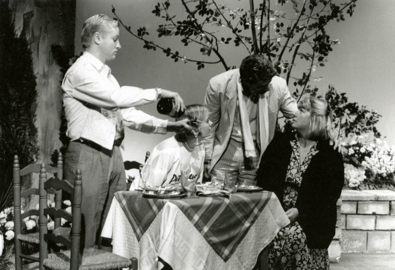 Woman in Mind, by Alan Ayckbourn, directed by Vaughan Leslie, 24-29 April 1995. Dominic Makin as Tony, Janine Hannam as Lucy, Alastair Graham as Andy, Sue Morris as Susan.