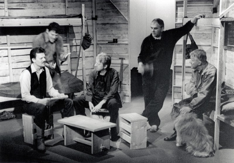 Of Mice and Men, by John Steinbeck, directed by Jenny Gore, 26 June - 1 July 2000. Andy Carter, Philip Bramson, Vaughan Leslie, Stephen Holt, Phil Webb and Merlin (the dog).