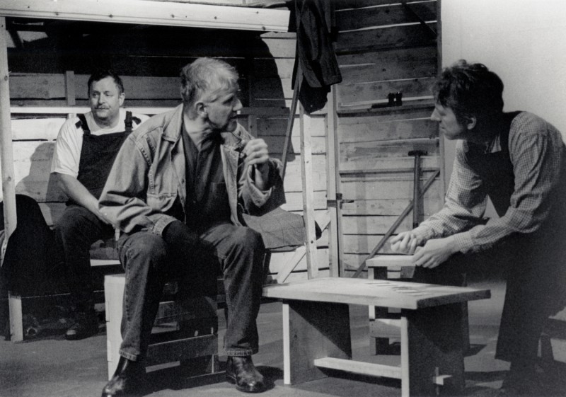 Of Mice and Men, by John Steinbeck, directed by Jenny Gore, 26 June - 1 July 2000. Brendan Ramsbottom, Phil Webb and Vaughan Leslie.