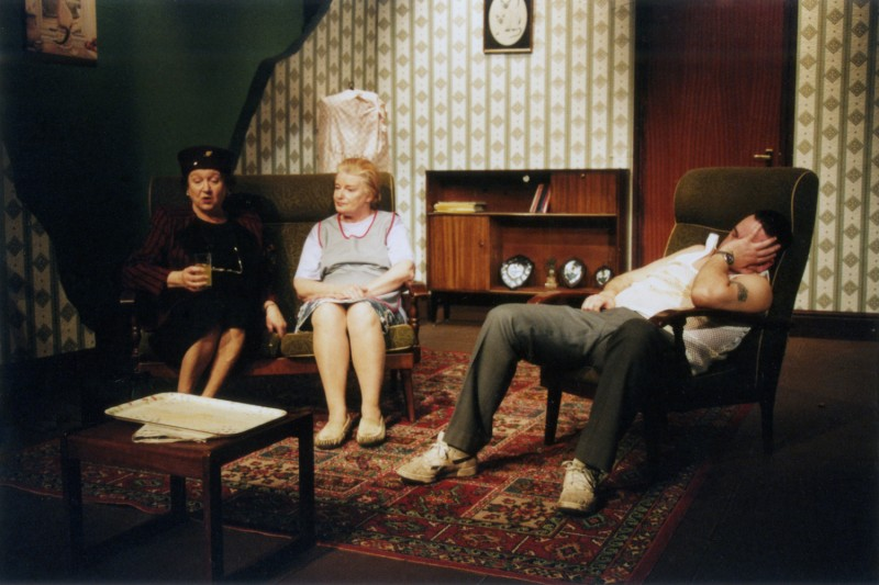 Sylvia's Wedding, by Jimmie Chinn, directed by Andrew Hamlin, 18-23 February 2002. Wendy Mertens, Marian Feather and Michael O'Donnell.