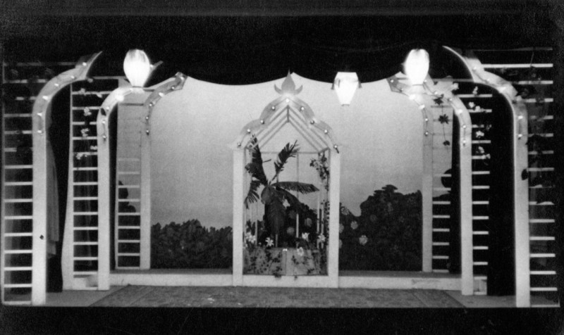 Set for Ring Round the Moon Hebden Bridge Little Theatre, 19th November to 26th November 1955.