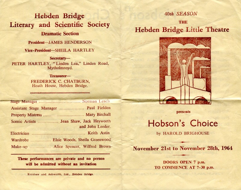 Hobson's Choice, by Harold Brighouse Directed by Michael Dudding, 21-28 November 1964