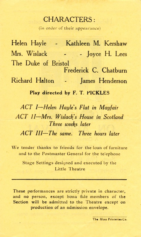On Approval, by Frederick Lonsdale, directed by F.T. Pickles, 19-26 September 1942