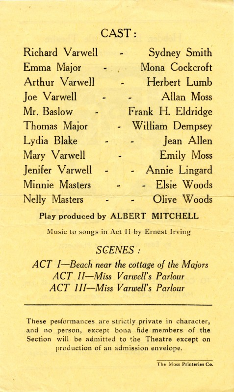 Yellow Sands, by Eden and Adelaide Phillpotts, directed by Albert Mitchell, 16-23 January 1943