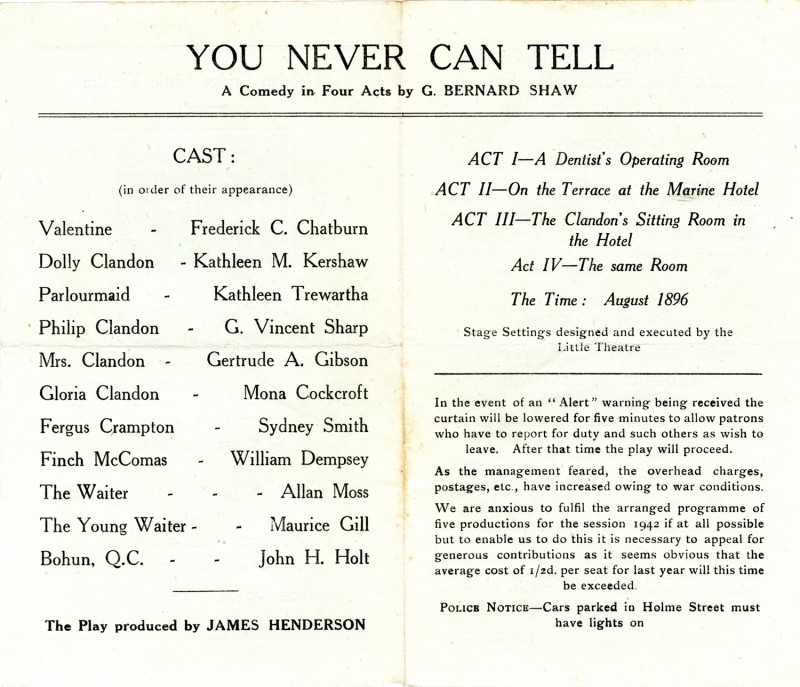 Programme for You Never Can Tell, 1942