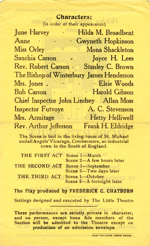 Programme for Robert's Wife, 1944