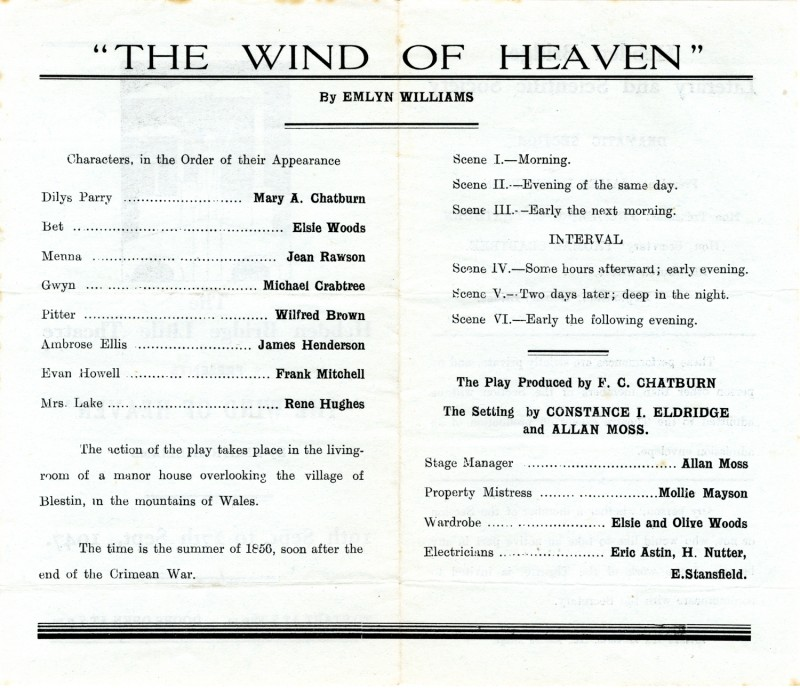 Programme for The Wind of Heaven, 1947