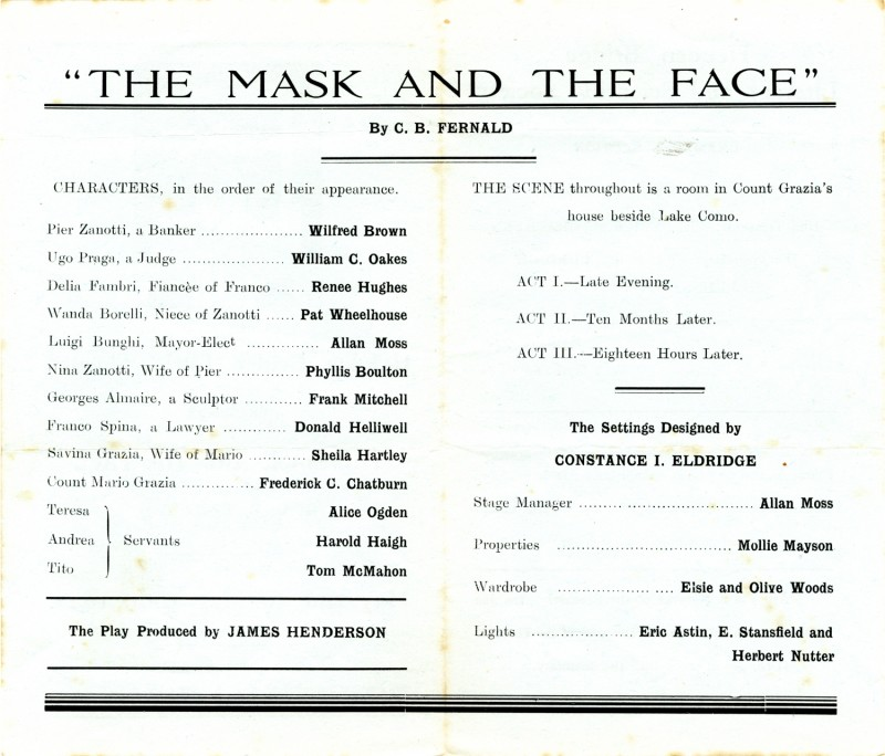 The Mask and the Face programme