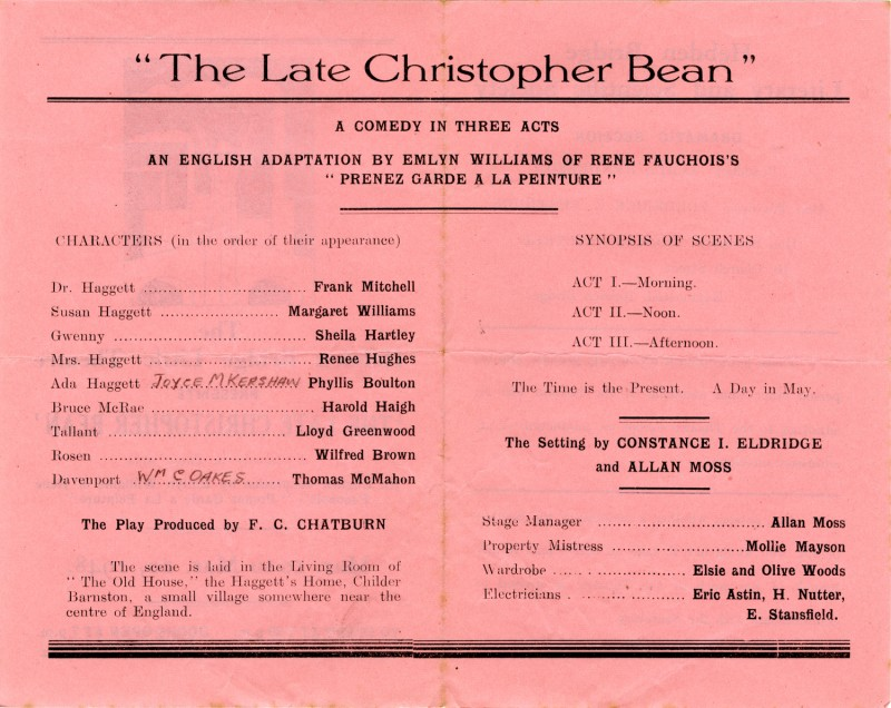 Programme for The Late Christopher Bean, by Emlyn Williams of Rene Fauchois's Prenez Garde a la Peinture, directed by Frederick Chatburn , 10-20 March 1948