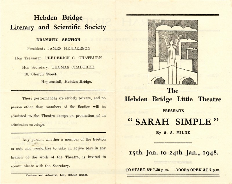 Programme for Sarah Simple, 1948