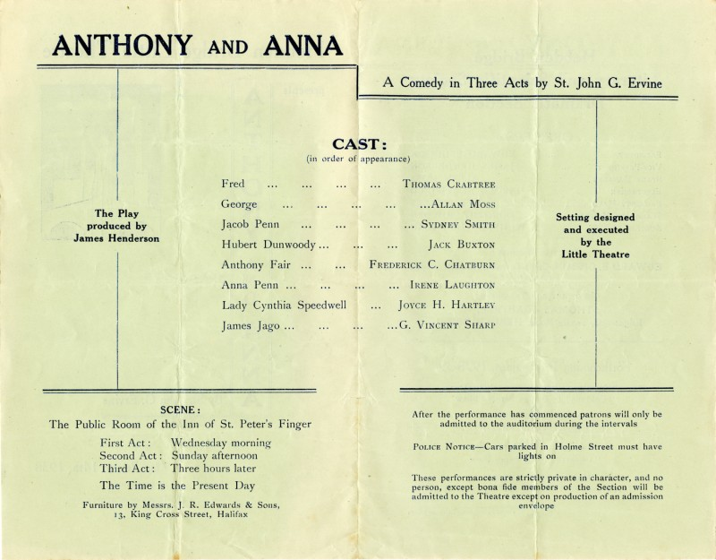 Programme for Anthony and Anna, 1938