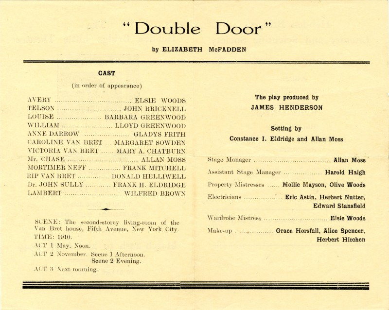 Double Door, by Elizabeth McFadden, produced by James Henderson, 24 March-2 April, 1949