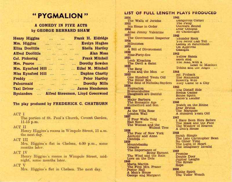 Pygmalion programme, 1950