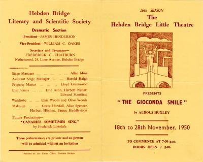 Programme for The Gioconda Smile, 1950