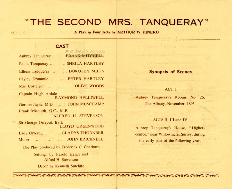 Programme for The Second Mrs Tanqueray, 1951