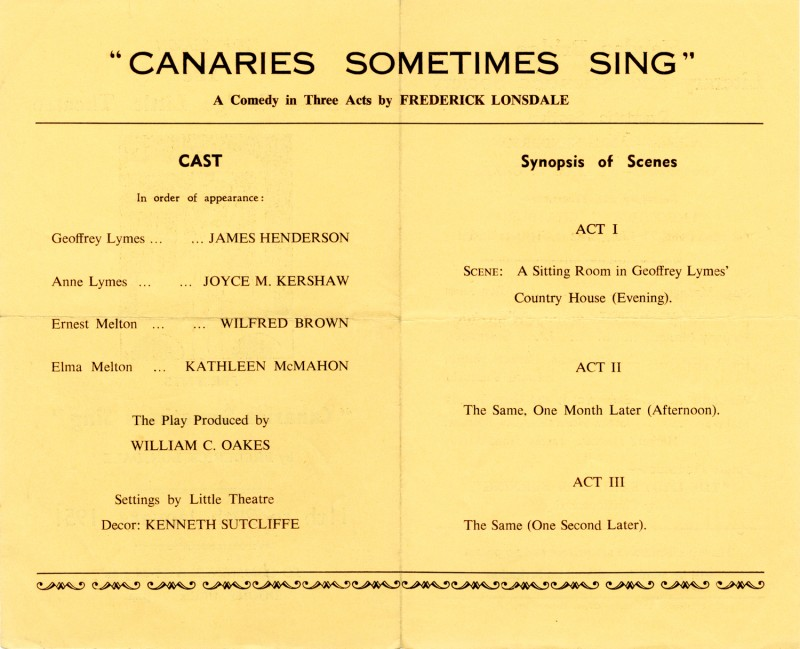 Canaries Sometimes Sing, 1951