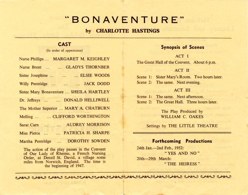 Programme for Bonaventure, 1951