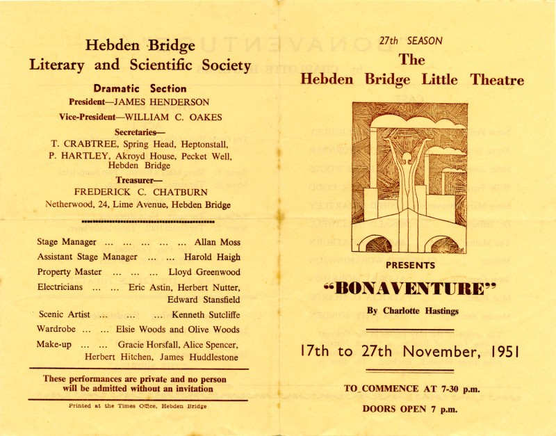 Programme for Bonaventure, by Charlotte Hastings, produced by William C. Oakes, 17-27 November 1951