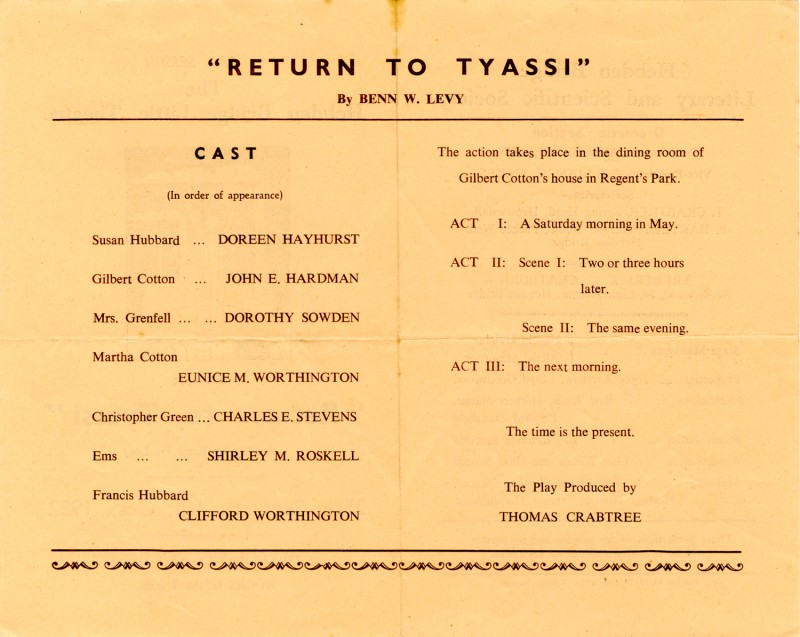 Programme for Return to Tyassi, 1952