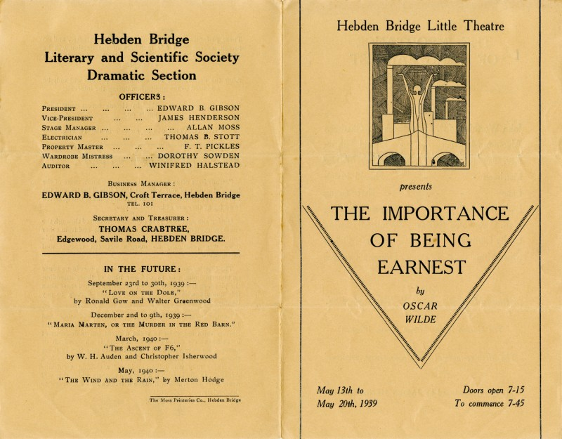 The Importance of Being Earnest programme, 1939