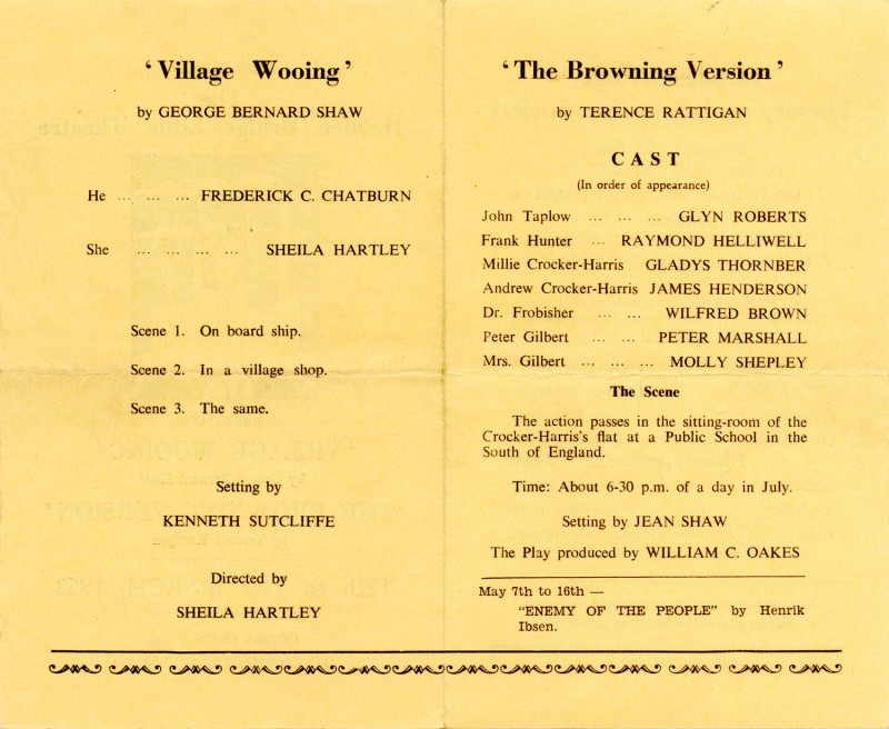 Programme for Village Wooing/The Browning Version, 1953