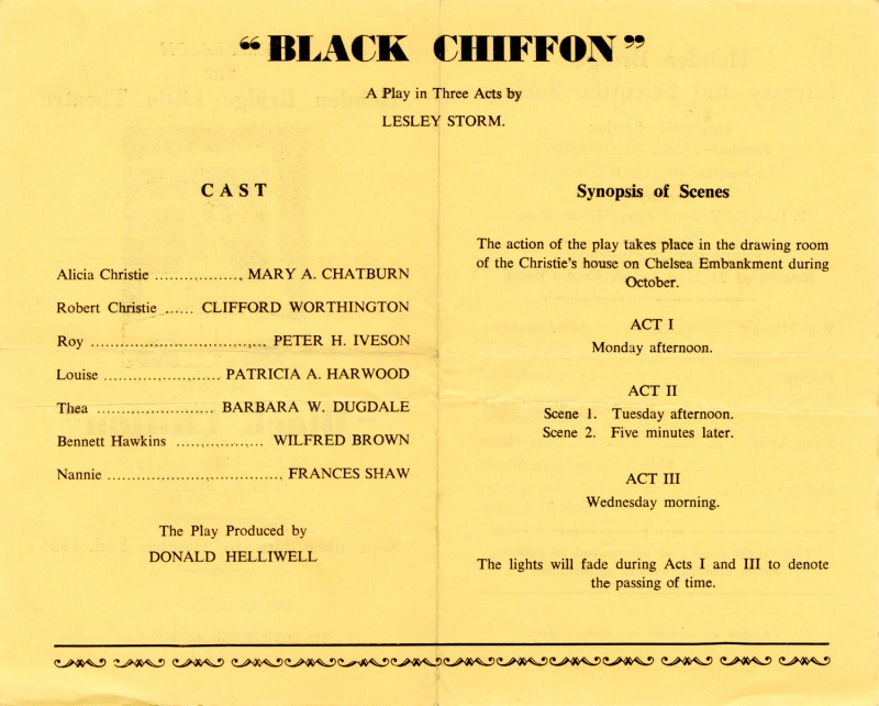 Programme for Black Chiffon, 1954