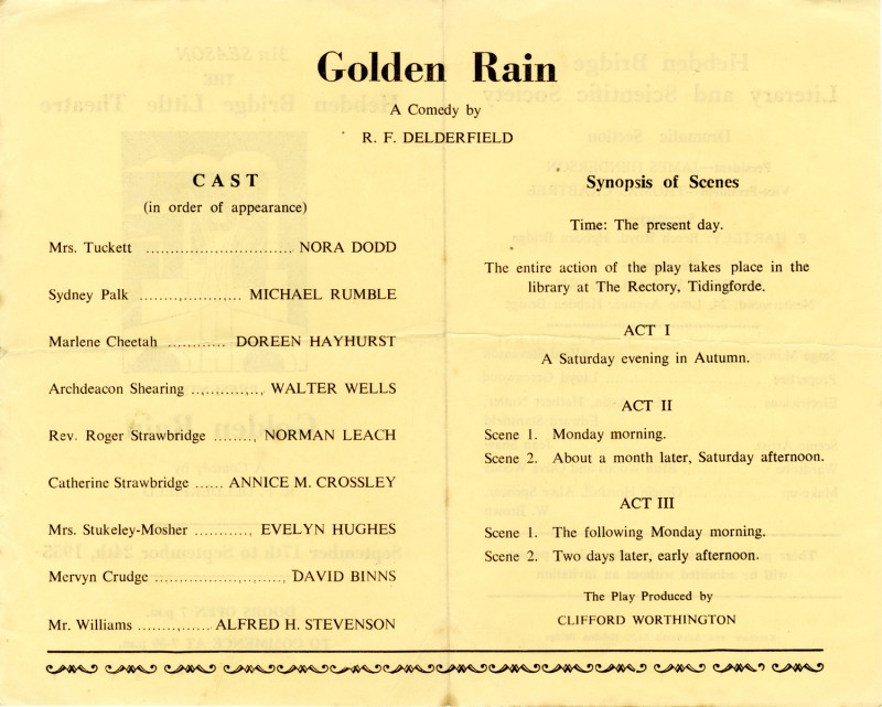 Programme for Golden Rain, 1955