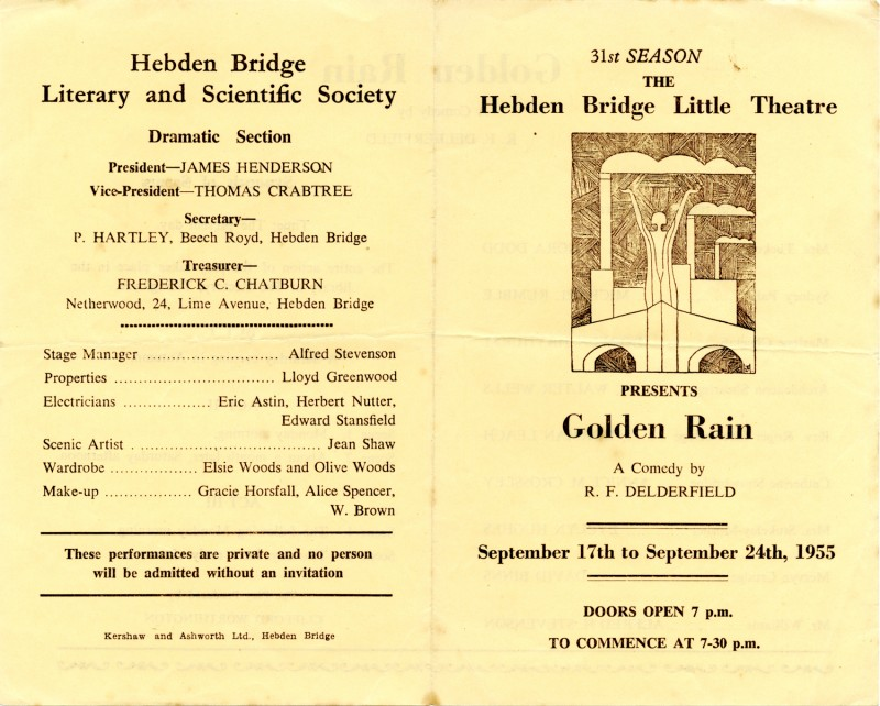 Programme for Golden Rain, by R.F. Delderfield, produced by Clifford Worthington, 17-24 September 1955