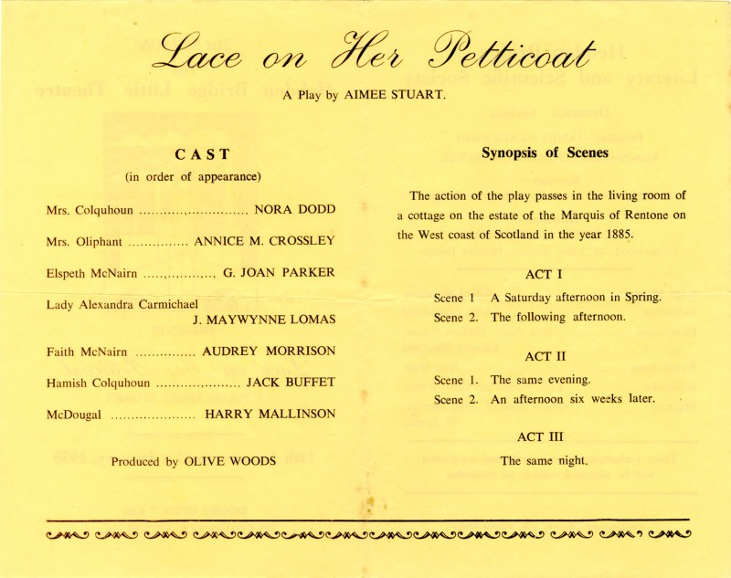 Lace on her Petticoat programme, 1956