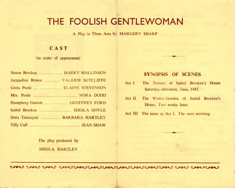 The Foolish Gentlewoman programme