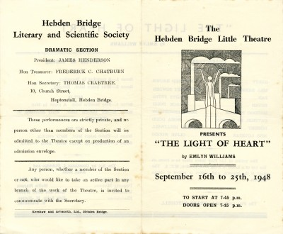 The Light of Heart, by Emlyn Williams, programme