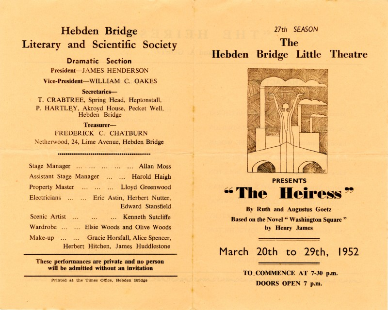 The Heiress, by Ruth and Augustus Goetz, based on the novel 'Washington Square' by Henry James, directed by Frederick C. Chatburn, 20-29 March 1952