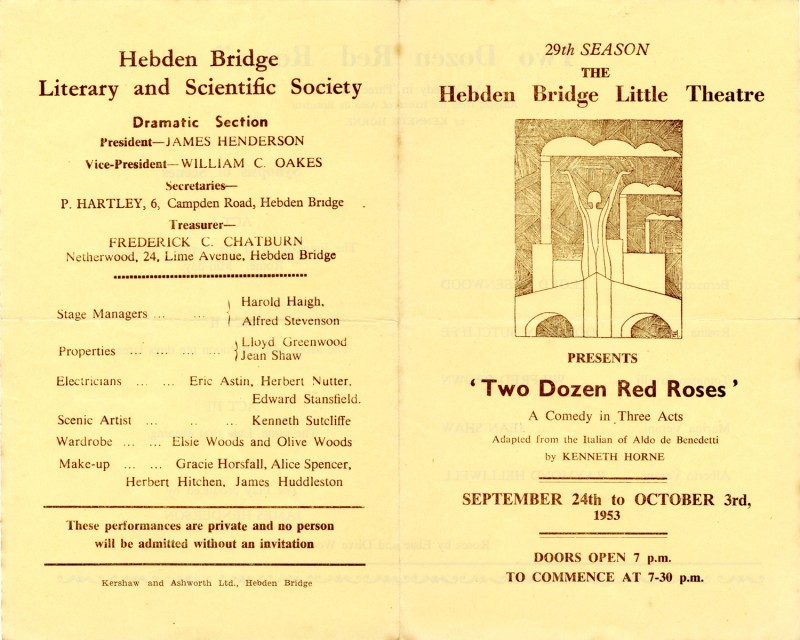Programme for Two Dozen Red Roses, 1953