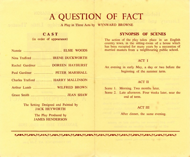 A Question of Fact, 1958
