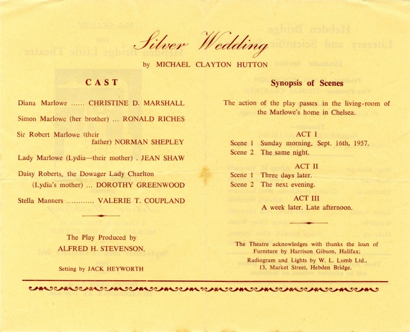Silver Wedding, by Michael Clayton Hutton, produced by Alfred H. Stevennson, 26 September-3 October, 1959