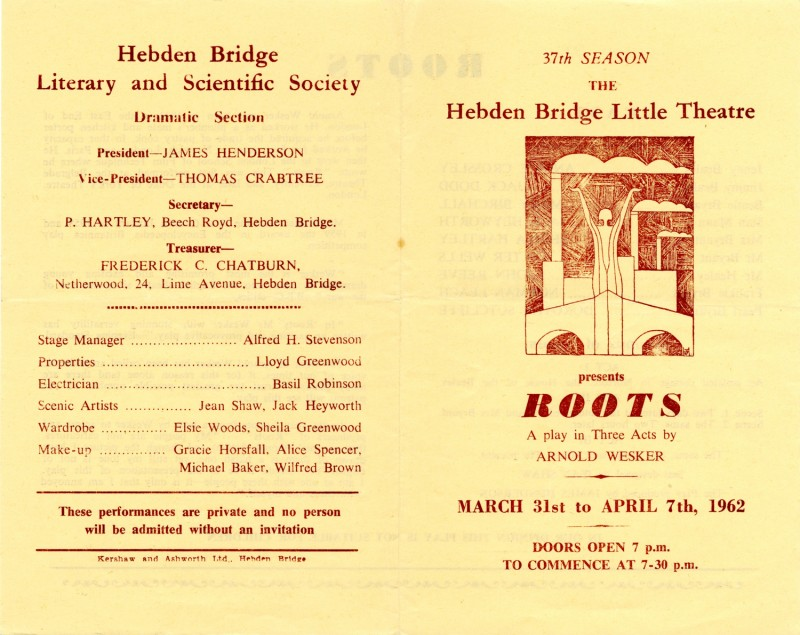Roots, by Arnold Wesker, directed by James Henderson, 31 March-7 April 1962