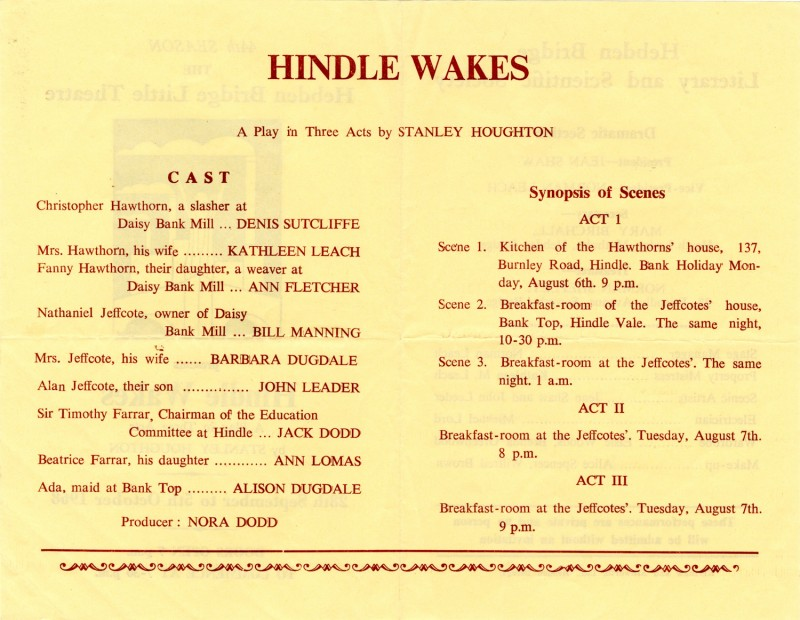 Hindle Wakes programme