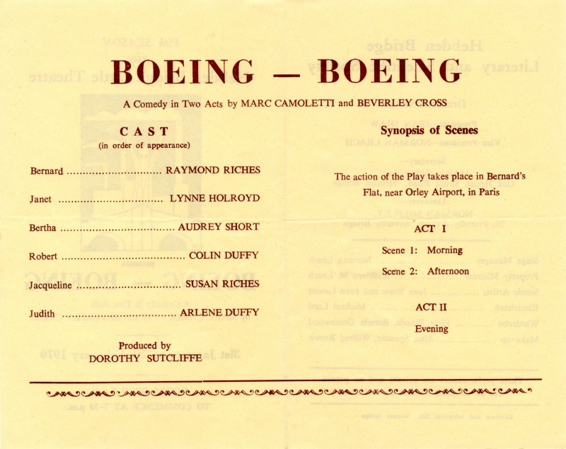 Boeing-Boeing by Marc Camoletti and Beverley Cross Directed by Dorothy Sutcliffe, 31 January-7 February 1970