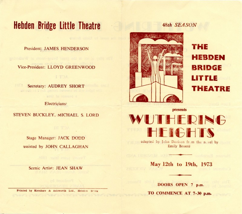Wuthering Heights, adapted by John Davison from the novel by Emily Bronte, directed by James Henderson, 12-19 May 1973