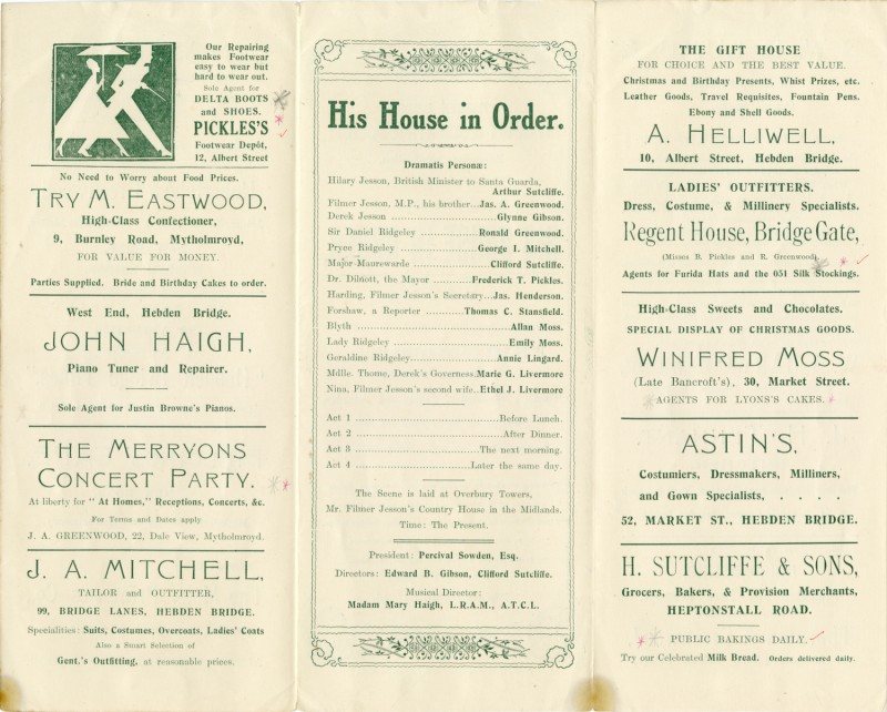 His House in Order programme, 1925. The second play produced by the Literary and Scientific Dramatic Section (later becoming the Little Theatre), at the Co-operative Buildings, Carlton Street.