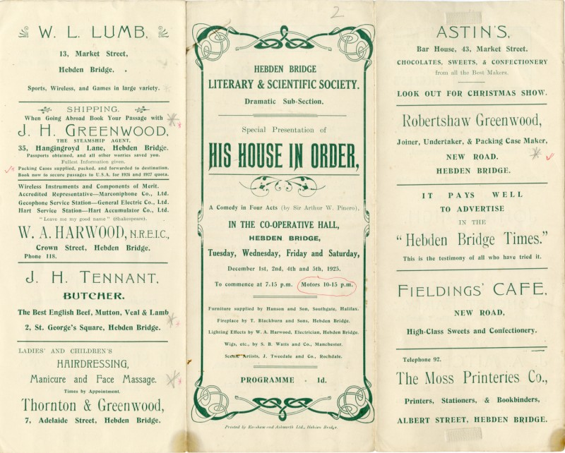 His House in Order programme, 1925. The second play produced by the Literary and Scientific Dramatic Sub-Section (later becoming the Little Theatre), at the Co-operative Hall, Carlton Street.